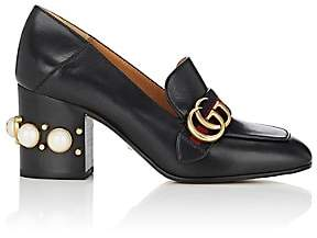 Gucci Women's Embellished-Heel Leather Pumps - Black