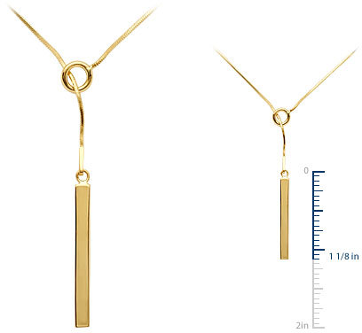 Bar Lariat Necklace in 18k Gold