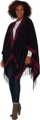 Women With Control Attitudes by Renee Poncho Wrap with Fringe Detail