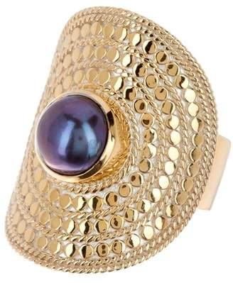 Anna Beck Gold Vermeil 8mm Pearl Shield Ring