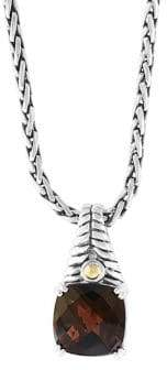 Effy 18K Yellow Gold, 925 Sterling Silver Smoky Quartz Pendant Necklace