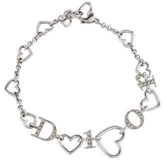 Christian Dior Crystal Logo Heart Bracelet