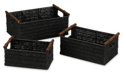 Decorative Wicker Baskets in Black (Set of 3)