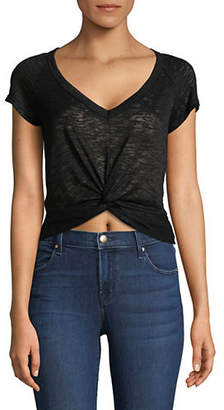 Lord & Taylor DESIGN LAB Knotted Front Cropped Tee