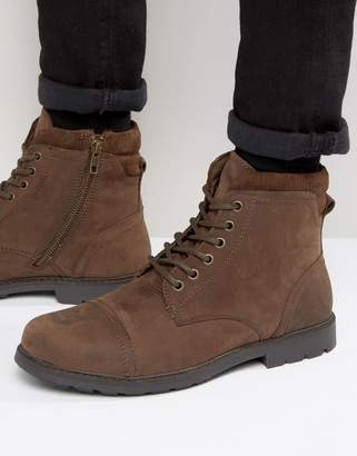 Red Tape Lace Up Worker Boots Brown