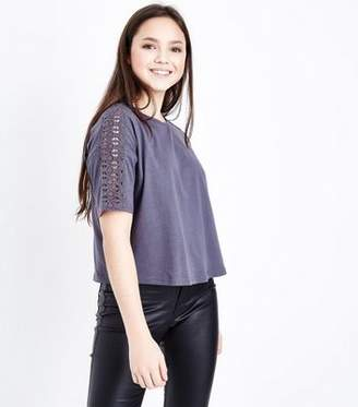New Look Teens Grey Crochet Sleeve T-Shirt