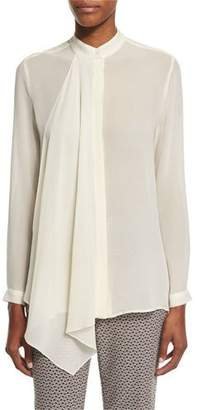 Etro Long-Sleeve Cascade-Front Blouse, Ivory $640 thestylecure.com