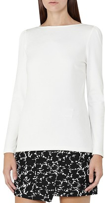 REISS Erol Puff Sleeve Jersey Top $120 thestylecure.com