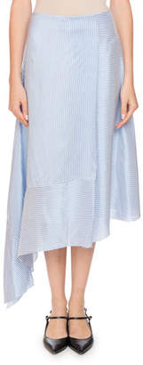 Erdem Zora Asymmetric A-Line Striped Silk Midi Skirt