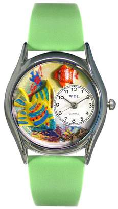 Whimsical Watches Women's S0140008 Tropical Fish Light Green Leather Watch