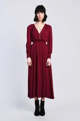 Glamorous Womens **Shirring Waist Midi Dress By Burgundy