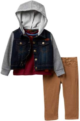7 For All Mankind Mixed Media Jacket, Tee, & Twill Pants 3-Piece Set (Baby Boys)