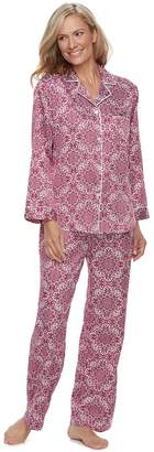 Miss Elaine Women's Essentials Printed Satin Shirt & Pants Pajama Set