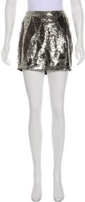 Haute Hippie Sequin Mini Skirt Gold Sequin Mini Skirt