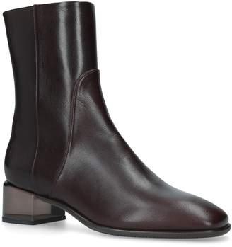 Stuart Weitzman Leather Clodette Ankle Boots 45