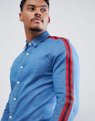 Asos DESIGN skinny fit denim shirt with red tape detail