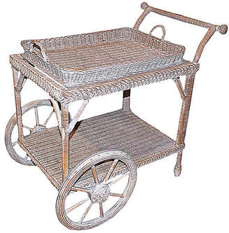 One Kings Lane Vintage Smithsonian-Henry Link Wicker Tea Cart - House of Charm Antiques