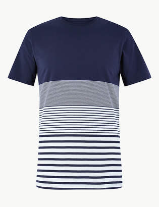 b2d09133 Limited EditionMarks and Spencer Pure Cotton Striped Crew Neck T-Shirt