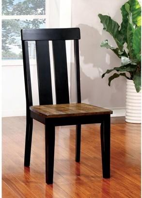 Furniture of America Hartman Transitional Two-Tone Dining Chair, Antique Oak/Black, 2pk