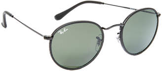 Ray-Ban Phantos Round Leather Sunglasses $200 thestylecure.com