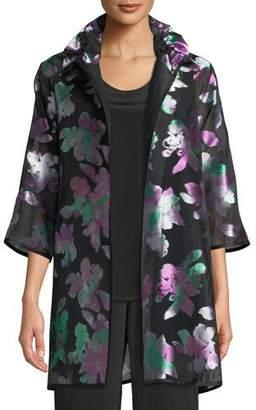 Caroline Rose Passion Flower Devore Silk-Blend Topper