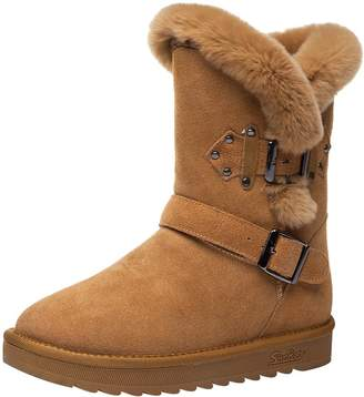 Jamron Jamrom Women Fashion Genuine Leather Mid-Calf Winter Boots Warm Faux Fur Lined Snow Boots SN02909 US6.5
