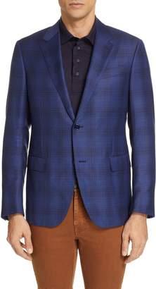 Ermenegildo Zegna Achillfarm Trim Fit Plaid Wool & Silk Sport Coat