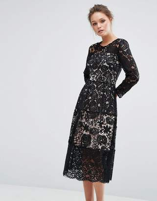 Oasis Premium Cutwork Lace Midi Skater Dress $128 thestylecure.com