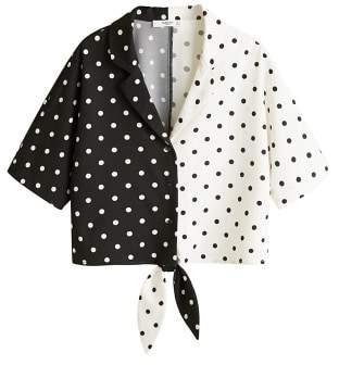 MANGO Knot polka-dot blouse