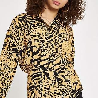 River Island Orange leopard print tucked waist shirt