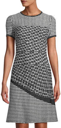 Neiman Marcus Mixed Houndstooth A-Line Dress