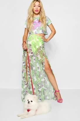 boohoo Palm Print Mesh Maxi Skirt