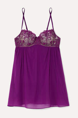 I.D. Sarrieri Embroidered Silk-blend Tulle And Chiffon Underwired Chemise - Violet