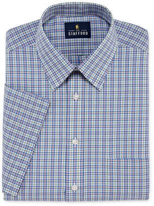 STAFFORD Stafford Travel Easy Care Short Sleeve Broadcloth Plaid Dress Shirt