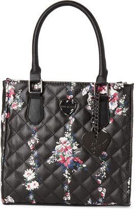 Betsey Johnson Black Quilted Faux Leather Satchel