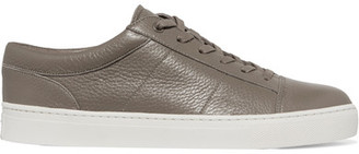 Vince - Afton Textured-leather Sneakers - Gray $295 thestylecure.com