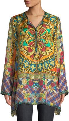 Johnny Was Reasona Stain Glass-Print Silk Tunic, Plus Size