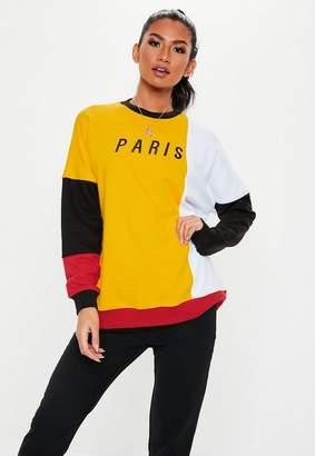 Missguided Mustard Colorblock Paris Graphic Sweatshirt