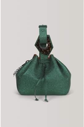Ganni Leather Large Drawstring Bag
