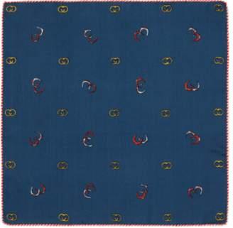 Gucci Silk pocket square with GG horseshoe print