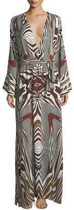 Melissa Odabash Loulou Zebra Long-Sleeve Coverup Dress, One Size