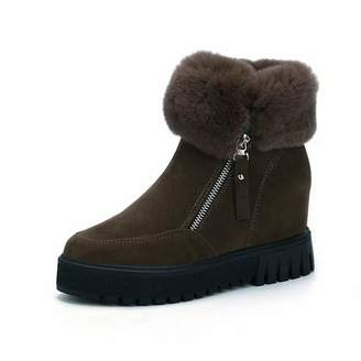 T-JULY Women's Snow Boots Sewing Short Plush Wedges Botas Mujer Zipper Fur Short Ankle Boots Winter Warm Solid Shoes