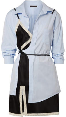 Alexander Wang Layered Lace-trimmed Satin And Cotton-poplin Mini Dress - Sky blue