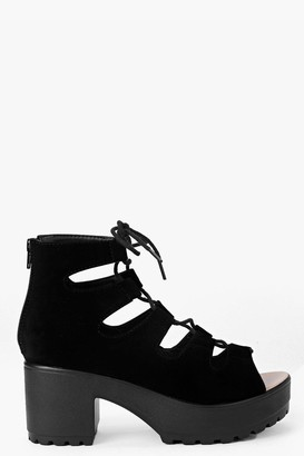 boohoo Cleated Peeptoe Lace Up Sandals