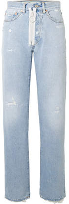 Off-White OffWhite - Distressed High-rise Straight-leg Jeans