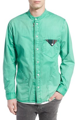 Men's Prps 'Cotinga' Extra Trim Fit Band Collar Woven Shirt $275 thestylecure.com