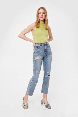 Nasty Gal Womens Distressed To Impress Straight Leg Jeans - Blue - 6