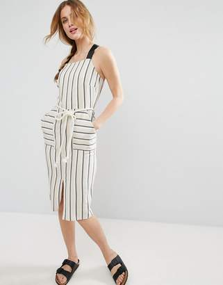 Asos Design midi sundress in Stripe with Contrast Straps and Rope Belt