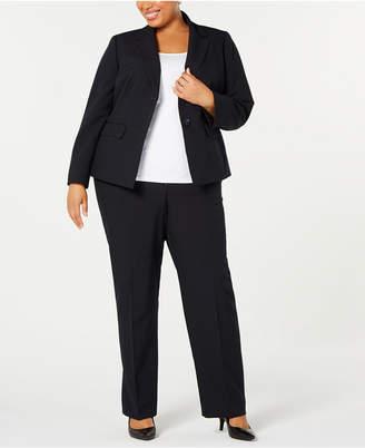 Le Suit Plus Size Mini Pinstripe Two-Button Pantsuit