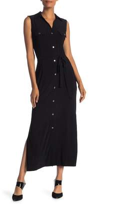 Nina Leonard Button Front Maxi Dress